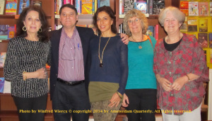 AQ 2014 Yearbook Readers. From left to right: Joan Z. Shore, Bryan R. Monte, Iclal Akcay, Patricia Seman and Sarah Kinebanian