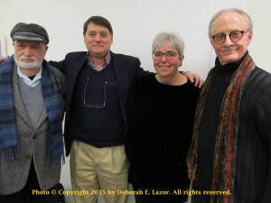AQ readers Anne Frank Center NYC. From l. to r.: Irving Greenfield, Bryan R. Monte, Yolanda V. Fundora and Arthur Davis.